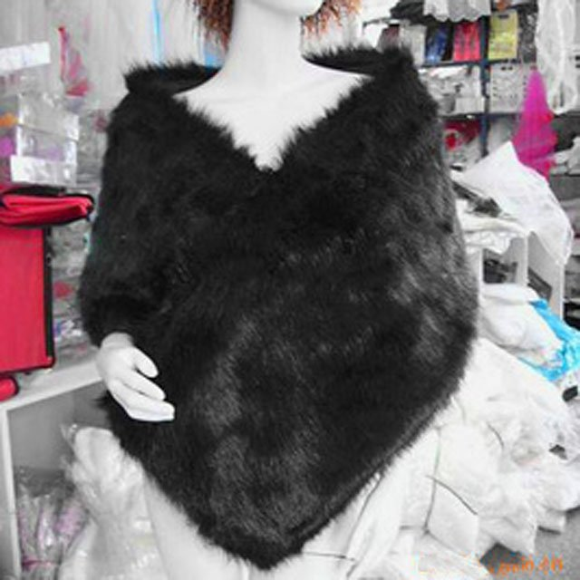 Bridal Faux Fur Shrug Black Shawl Stole Wrap Cape SF116