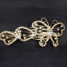 Bridal Rhinestone Butterfly gold tone crystal Hair tiara Comb RB480