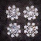 4 pcs Repair Faux Pearl sew crystal Rhinestone repair dress button BN34