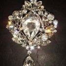 Bridal Dangle Vintage style Rhinestone Brooch pin PI378