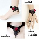 Gothic sexy Lolita Lace ribbon Red Flower Black Choker necklace NR343