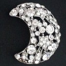 Bridal Rhinestone moon crystal scarf cake dress decoration Brooch pin PI551