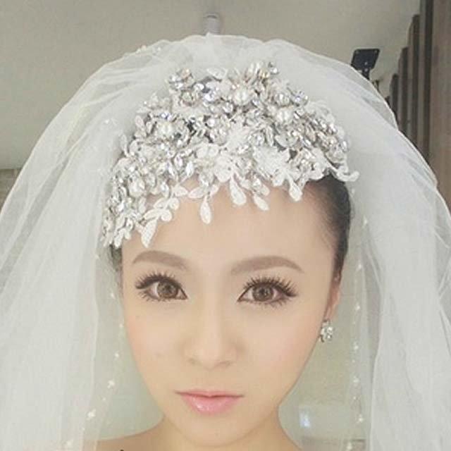 Bridal Rhinestone Adjustable forehead band Faux pearl lace Hair tiara HR211