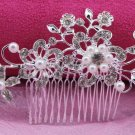 Bridal Rhinestone faux pearl flower tiara Crystal Hair Comb RB612
