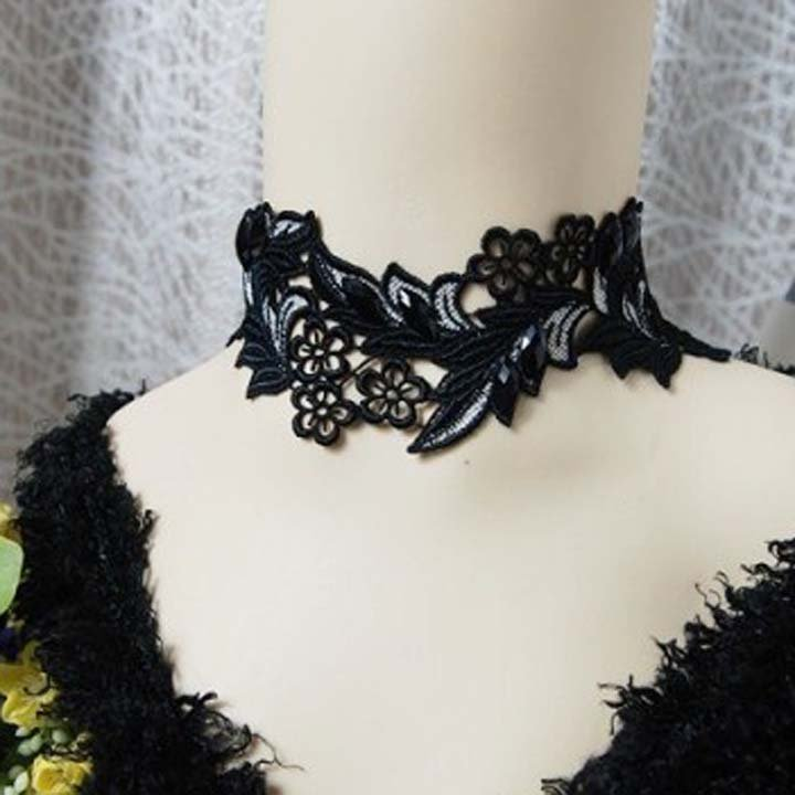 Gothic sexy Lolita Lace gray Black flower Choker necklace NR396
