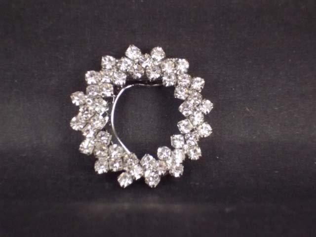 Bridal Prom Round circle rhinestone crystal scarf clip BU70