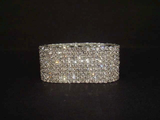9 row Bridal Wedding Crystal Rhinestone cuff Bracelet BR203