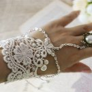 Lolita Faux pearl flower Sexy White Lace gothic Belly dance slave Bracelet BR235