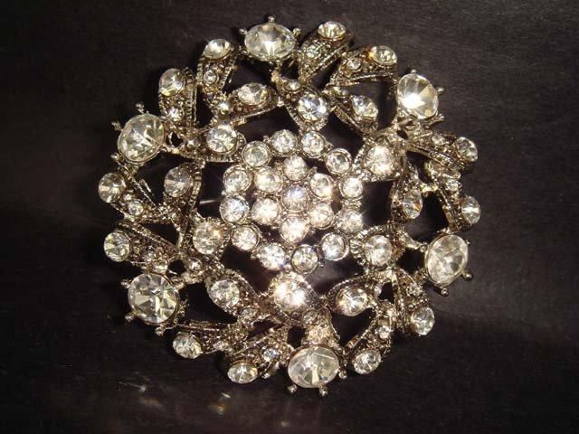 Bridal cake topper derss Decoration crystal Rhinestone Brooch pin PI226
