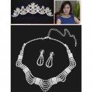 Bridal Rhinestone crystal Topknot tiara comb earring necklace set NR395