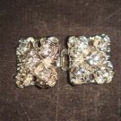 2 pairs Square Crystal Rhinestone clasp hook buckle button BU46