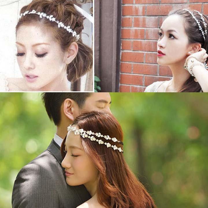 Bridal Flower Rhinestone Forehead Band Headpiece Hair Vines Halos Tiara NR392
