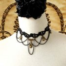 Gothic sexy Lolita Lace brass heart bead Black Choker necklace NR348