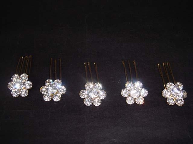 5 pcs Bridal Rhinestone gold tone Crystal Hair comb RB234
