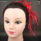 Wedding Flower red khaki Feather Feather Clip Pin Fascinator BA63
