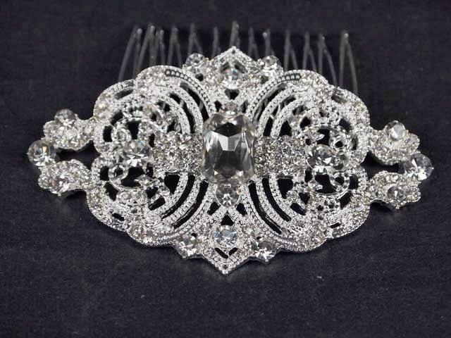 Bridal vintage style rhinestone Headpiece Headdress prom hair tiara comb RB592