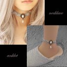 Lolita Gothic sexy Flower gray Choker necklace anklet set BR336