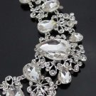 Bridal Rhinestone crystal necklace clip on earrring set NR311
