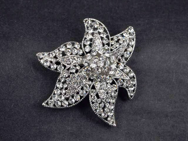 Bridal cake topper starfish Crystal Rhinestone Brooch pin Pi583