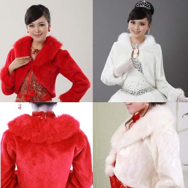 Bridal Off white Red 3/4 sleeve Faux Fur Shrug Shawl Cape Wrap BOLERO SF136