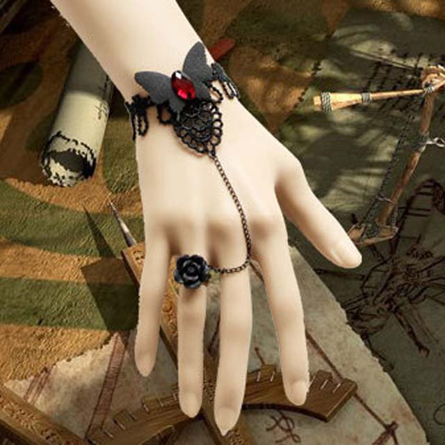 Gothic Lolita Sexy Butterfly black Red Belly dance slave bracelet BR308