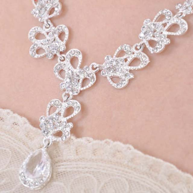 Bridal Rhinestone crystal Topknot earring necklace set NR384