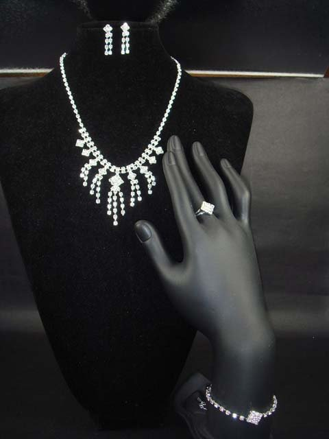Bridal Crystal prom rhinestone bracelet ring necklace earring Set NR98