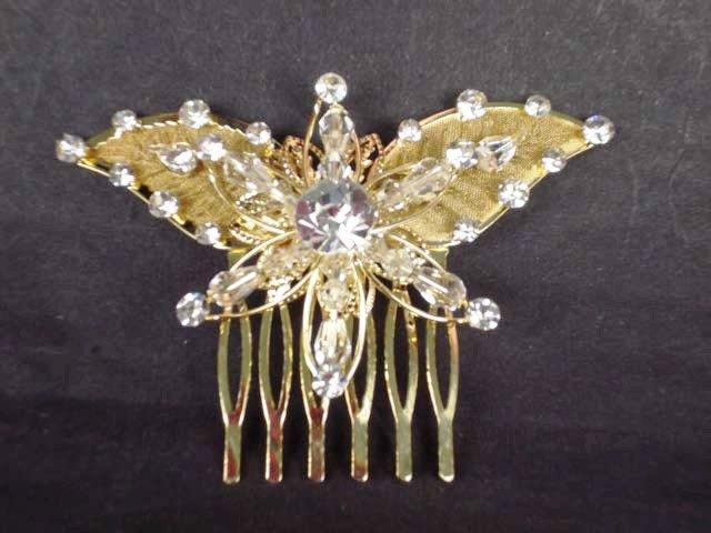 Bridal Rhinestone Butterfly gold tone Headpiece crystal Hair tiara Comb RB567