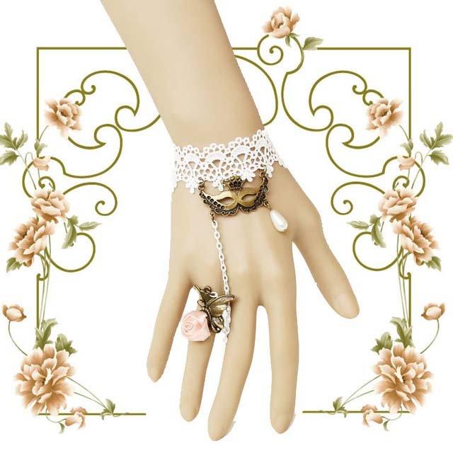 Party Prom Belly dance mask pink Lolita white necklace bracelet anklet BR307