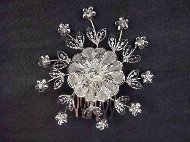Bridal Rhinestone Prom Headpiece Flower Crystal Hair tiara Comb RB583