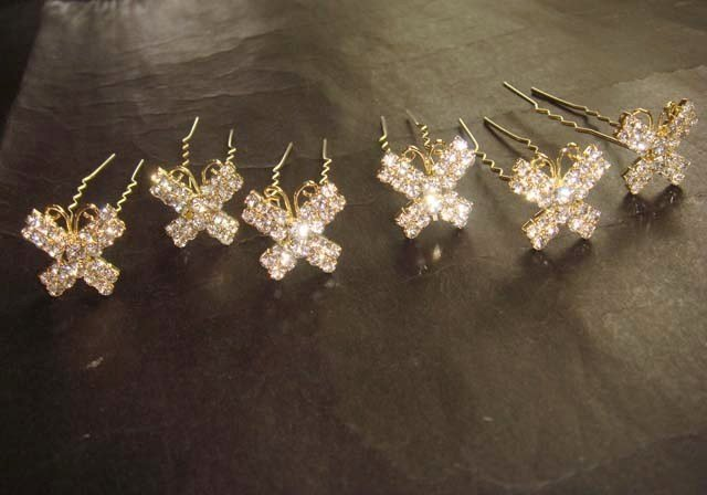 6 Bridal Butterfly crystal Headpiece Rhinestone Hairpins Hair pins RP165