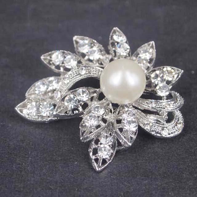 Bridal Faux pearl crystal dress scarf decoration Rhinestone Brooch pin Pi565