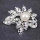 Bridal Faux pearl crystal dress scarf decoration Rhinestone Brooch pin Pi565