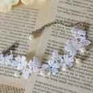 Lolita sexy gothic Crochet lace white bead Choker bracelet NR254