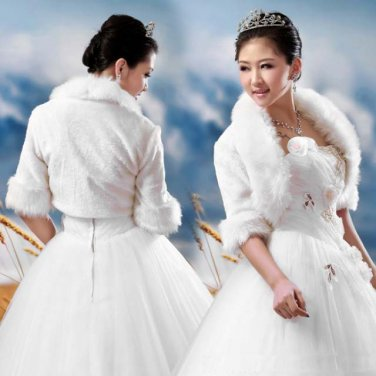 Bridal 3/4 sleeve Shrug White Crochet BOLERO Shawl Stole Wrap Cape SF150
