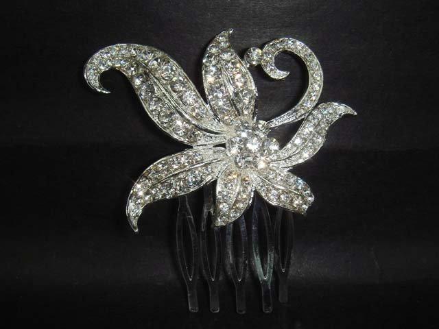 Bridal wedding crystal headpiece Rhinestone Hair tiara Comb RB87