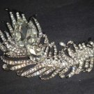 Bridal feather bling large crystal Vintage style Rhinestone Brooch pin PI579