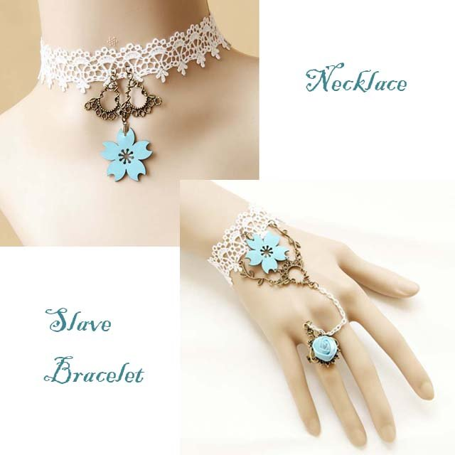 Gothic Lolita Blue Flower white Belly dance slave bracelet necklace set BR310