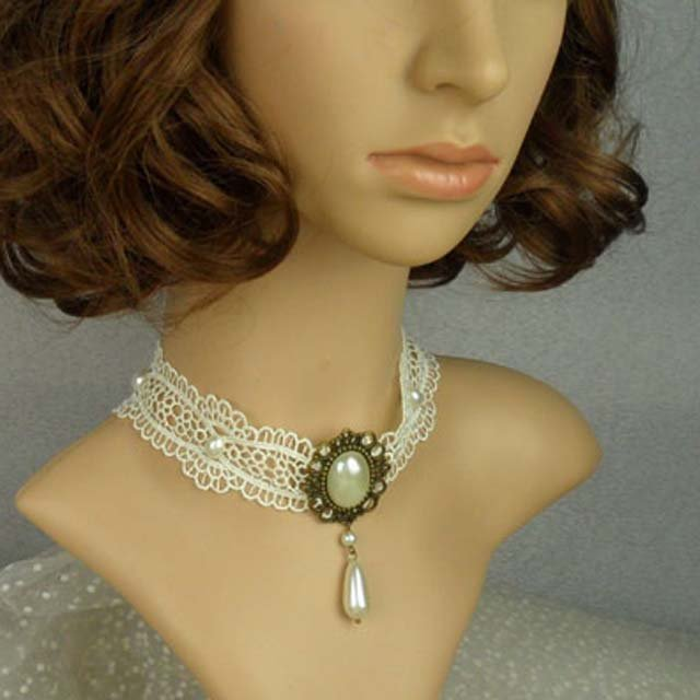 Gothic sexy Lolita Lace White Bead Faux pearl Choker necklace NR380