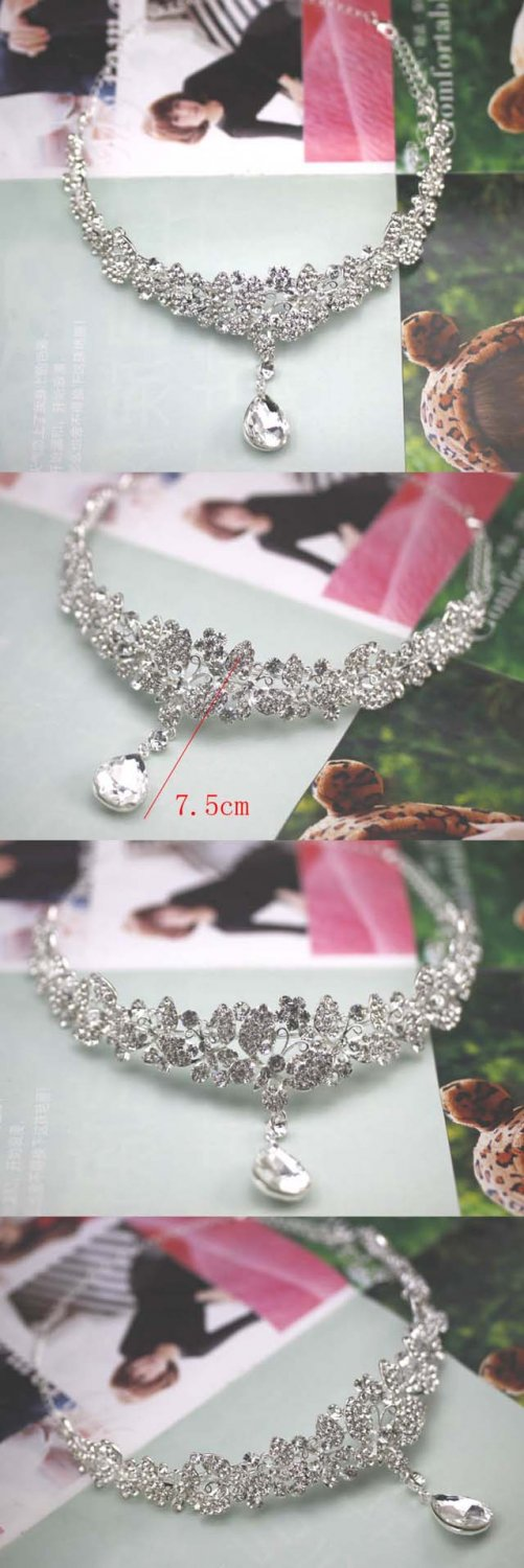 Bridal Rhinestone Crystal Prom Crown dangle Butterfly Hair tiara necklace HR189