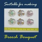 6 pcs Bridal Lot Crystal Rhinestone Suitable for making Brooch Bouquet pin BB5