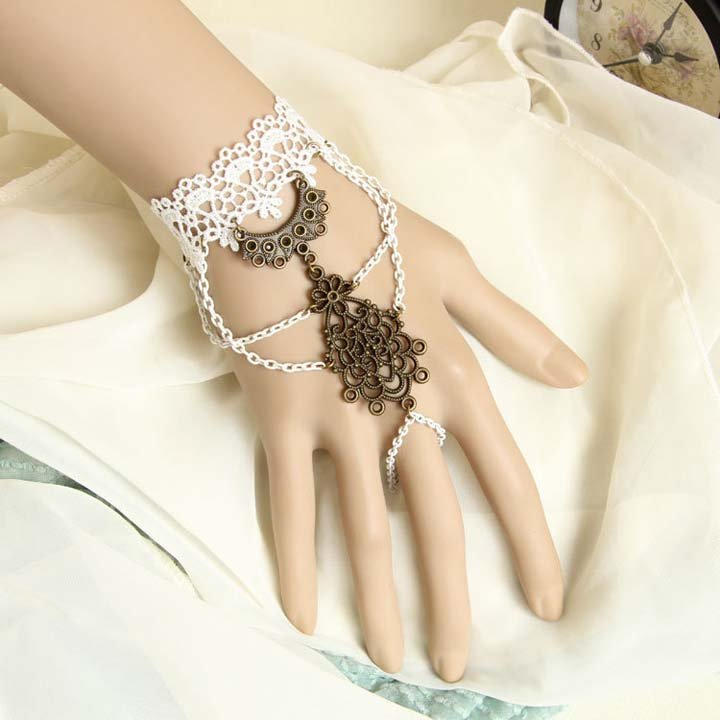 Gothic Lolita Sexy Flower lace white Belly dance slave bracelet BR338