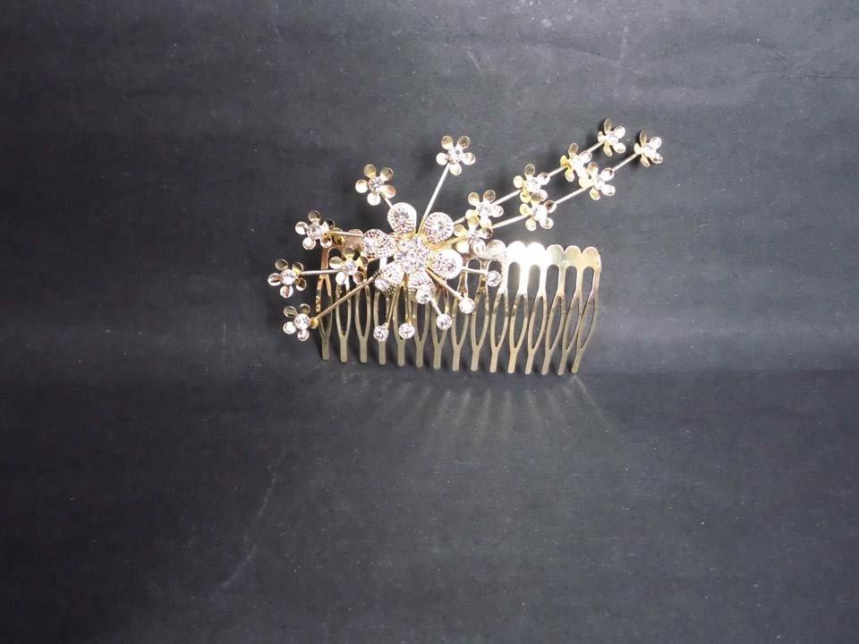 Bridal Rhinestone Flower Crystal gold tone Wedding Hair Comb RB618