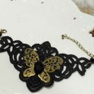 Gothic Lolita Crochet Sexy butterfly Black bracelet -for very thin hand BR211