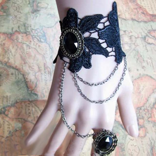Sexy Belly dance Rhinestone Black Lace gothic slave Bracelet BR296