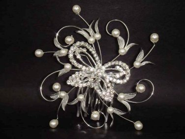 Bridal Rhinestone Butterfly Faux Pearl Headpiece Hair tiara Comb RB160