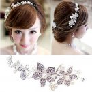 Bridal Rhinestone Adjustable forehead band Faux pearl Flower Hair tiara HR213