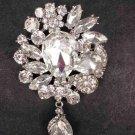 Bridal Dangle Crystal Vintage style Rhinestone Brooch pin PI550