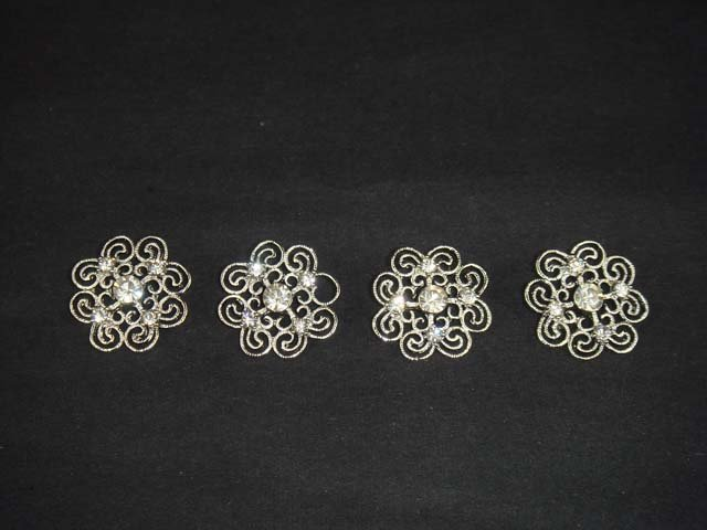 4 pc cystal Vintage style Dress Rhinestone clasp hook button BN23