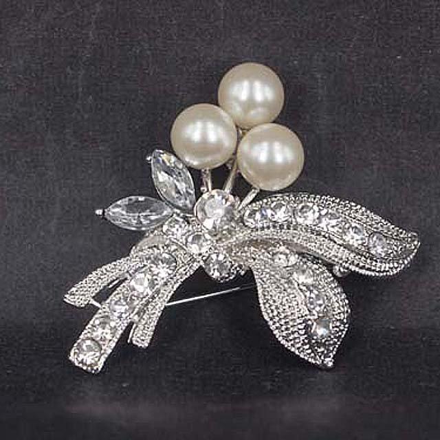 Bridal Faux pearl crystal dress scarf decoration Rhinestone Brooch pin Pi567